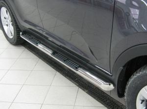Mitsubishi Pajero Sport 2010  пороги труба d76 с накладками (вариант 1) PST-0009251